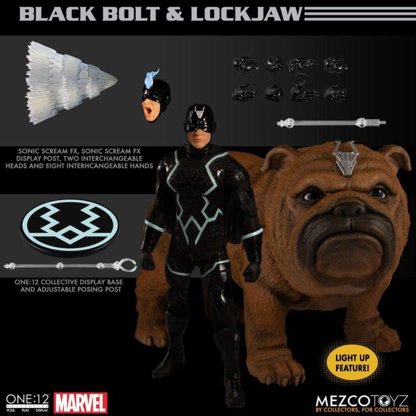Marvel Universe Action Figures 1/12 Black Bolt & Light-Up Lockjaw